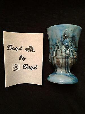 Boyd ~ Toothpick Holder ~ Hoppy 7 Cobalt Slag Marbleized Opaque Glass Creation