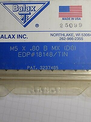 Balax Never Used Qty 1 Tap M5x0.80 Coarse Bottom Forming Tap Right Hand D8 Tin