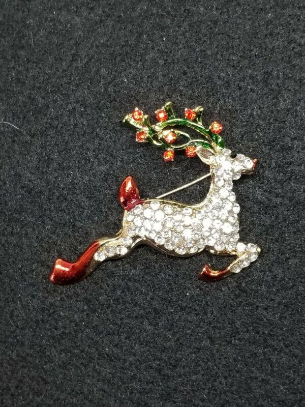 Flying Rudolph the Red Nosed Reindeer Rhinestone Enamel Brooch Pin Christmas