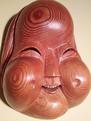 Old Japan/Japanese Cypress-Carved  Otafuku Mask Branded/Signed -Mastercraftsman