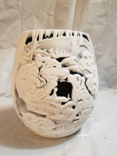 Fenton Cameo Vase   by Kelsey Murphy-Bomkamp BlackWhite Wolves Home 6 34