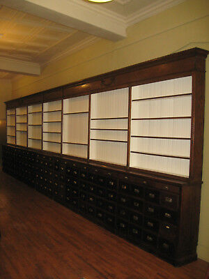 Weship 30 Ft Oak Pharmacy Apothecary Cabinet Display 133Drwr 1890 1900 Original