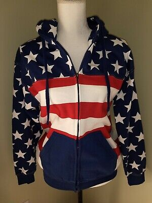 EXIT Stars & Stripes Size S Zip Up Sweatshirt Hoodie Red White (Blue And White Striped Zip Up Hoodie)