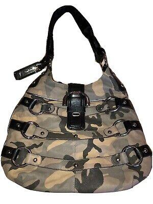 B. Makowsky Leather Camo/Black Trim Shoulder Purse Bag NEW Leopard Print Lining