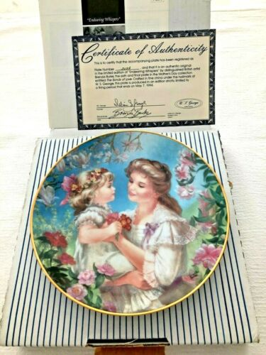 Brenda Burke Endearing Whispers Collector Plate Mother Child Mothers Day MIB COA
