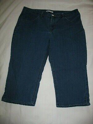 Riders by Lee Capri Blue Jeans Sz 16 Dark Denim Womens Mid Rise