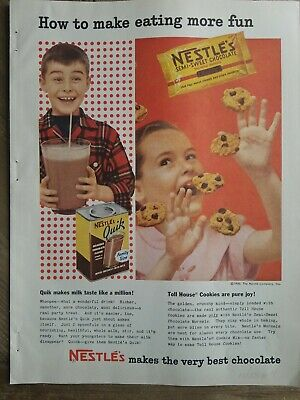 1955 Nestle semi-sweet chocolate chip cookies Quik drink vintage ad Chocolate Semi Sweet Cookies