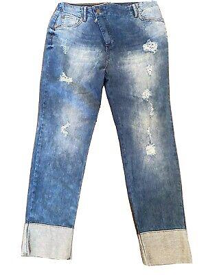 Coca Cola Ladies Blue Denim Boyfriend Jeans Asymmetrical ZIP Size 4