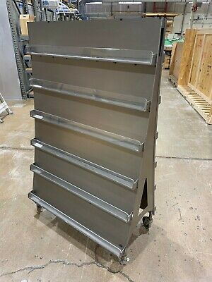 Designer Stainless Steel Display Shelf On Wheels