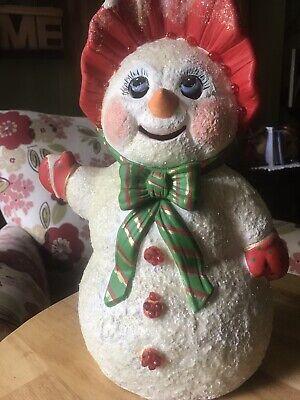 Rare Vintage 70s Christmas Ceramic Mold Snow woman Light Up Figurine BEAUTIFUL!