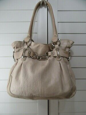 B. Makowsky Large Pebbled Leather Slouchy HandBag Shoulder Bag w/ Tan color