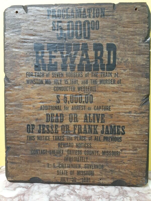 Jesse and Frank James Souvenir Wanted Poster Wooden Dead or Alive Reproduction