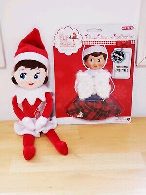 Elf On The Shelf plush girl doll blue eyes brown hair With extra outfit NEW