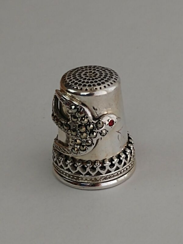 Antique Sterling Silver Applied Band Thimble Swallow Bird Marcasite Garnet