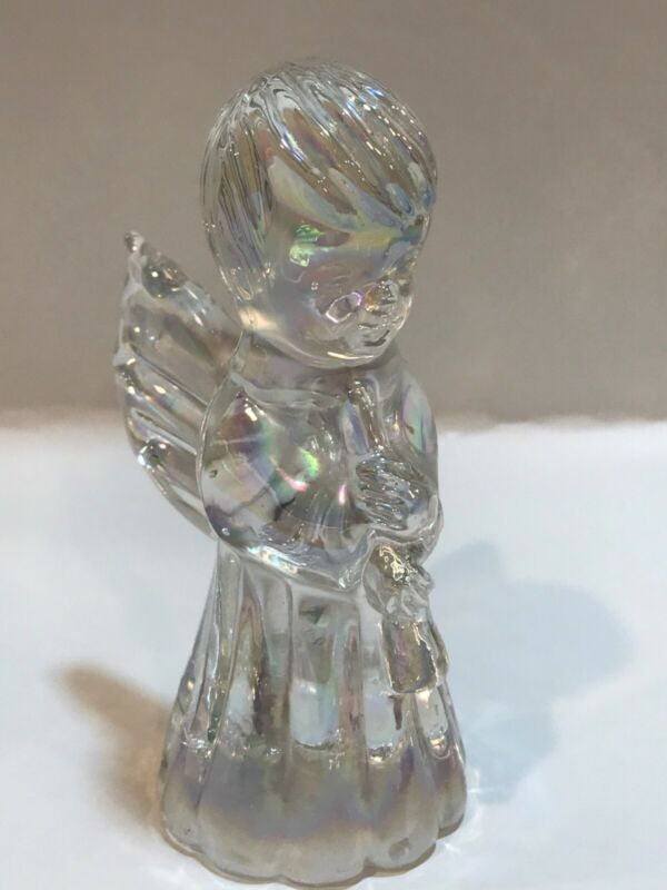 Silvestri clear Iridescent glass angel figurine holding flute.