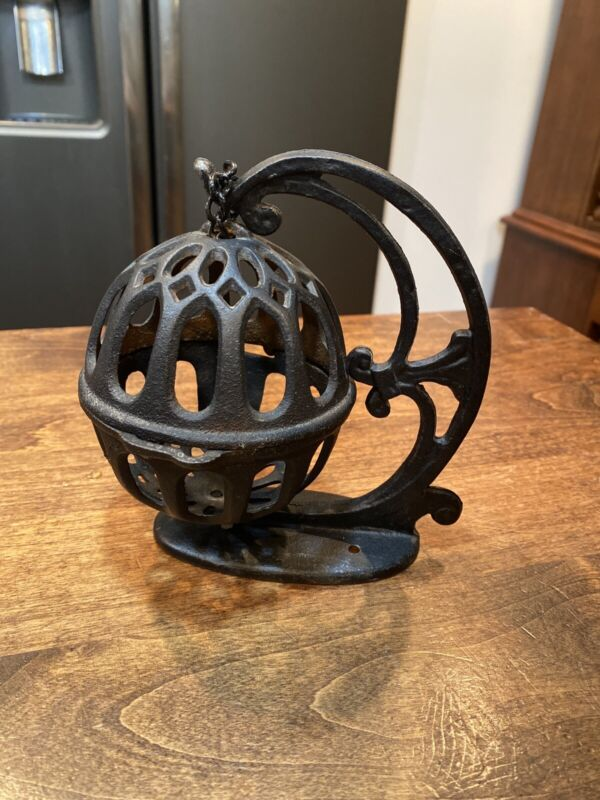 VINTAGE Cast Iron Butcher String Twine Holder Dispenser Ball with Stand
