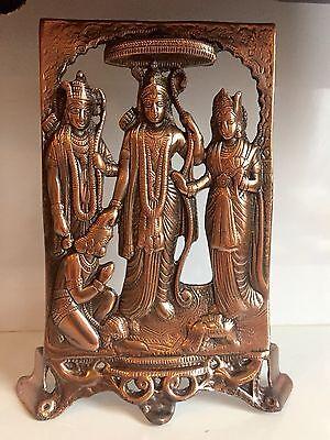 Ram Laxman (Ram Darbar Sita Laxman Hanuman Plaque 12'' Hindu God Diwali Wall Hanging Bronze)