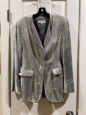 Giorgio Armani Le Collezioni Grey Velvet  Rayon & Silk Button Jacket Blazer Sz 4