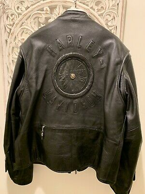 Harley Davidson Men's XXL WILLIE G SIGNATURE Leather Jacket WHEEL 98010-06VM