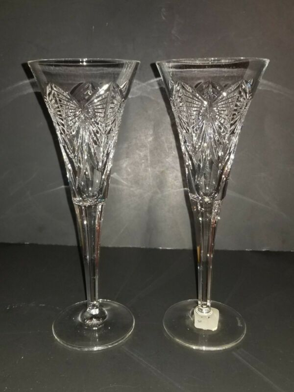 Waterford Toasting Flutes Champagne BUTTERFLIES Crystal wine glasses (2)