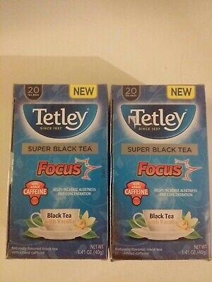 Tetley Super Black Tea Focus 2 boxes 20 bags each Best By