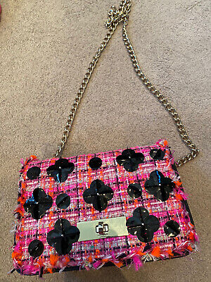 Stunning Kate Spade Neon Pink And Orange Tweed Across Body Chain Bag
