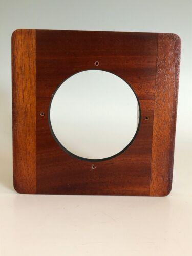 "Deardorff Solid Mahogany 6"" x 6"" Lens Board for 8x10 Camera 86mm Hole"