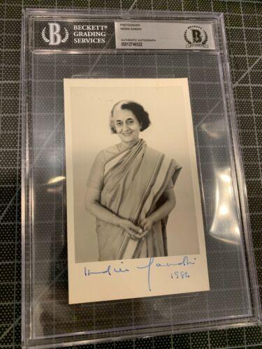 INDIRA GANDHI PRIME MINISTER OF INDIA SIGNED 3.5X6 PHOTO ASSASINATED JSA BECKETT