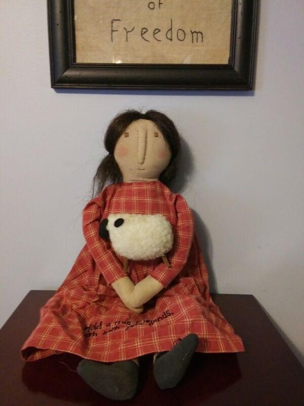 "Primitive Friendship doll Holding Sheep 21"""