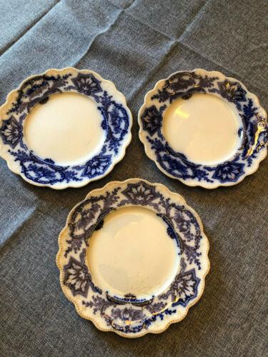 3 ANTIQUE FLO BLUE 8 INCH LUNCH PLATES GRINDLEY ENGLAND ALASKA PATTERN