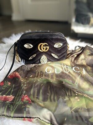NEW Gucci GG Marmont Mini Matelasse Black Velvet Shoulder Bag Crystal Embellish