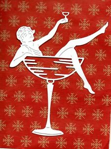 NEW TATTERED LACE LADY IN COCKTAIL GLASS DIE CUTS - TOPPER-ART DECO- XMAS/PARTY