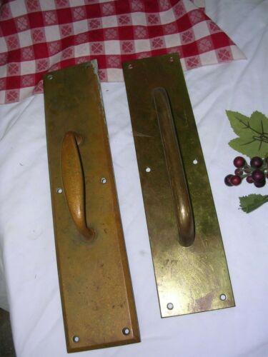 LOT OF 2 Large Vintage DOOR BRASS PULL HANDLE PLATES~ CORBIN