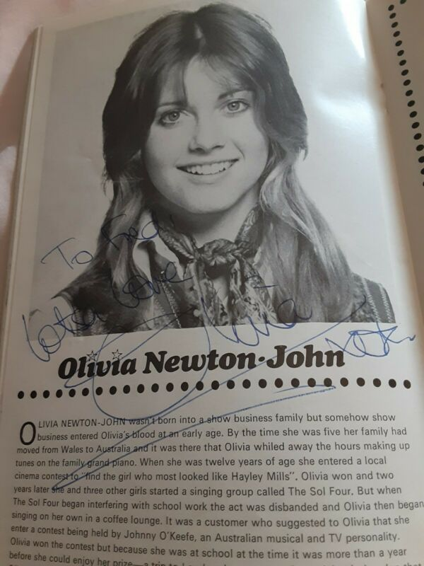 Olivia Newton John Program Autographed 1970s RARE