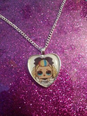 Silver Plated Heart Pendant Necklace LOL Doll Confetti Pop Dusk
