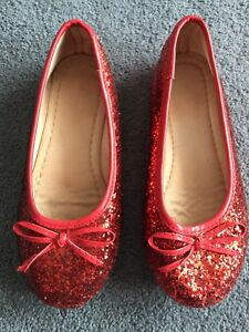 Gently used girls red glitter dress shoes size 11