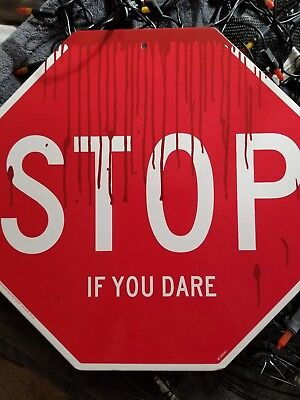 Halloween Stop Scaring Me Sign Two Sided Sign New Halloween Decor 11 x 11 New  - Stop Sign Halloween