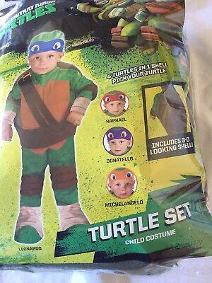 TEENAGE MUTANT NINJA TURTLE Shell Set HALLOWEEN COSTUME BOYS SIZE 3T-4T New - Halloween Costume Ninja Turtle Shell