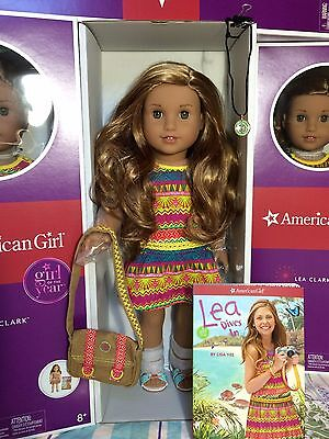 """American Girl LEA 18"""" Doll of the Year 2016+Book+ Necklace + Messenger Bag Leah"""
