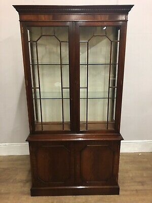Reproduction 2 Piece Flamed Mahogany Display Cabinet With Key