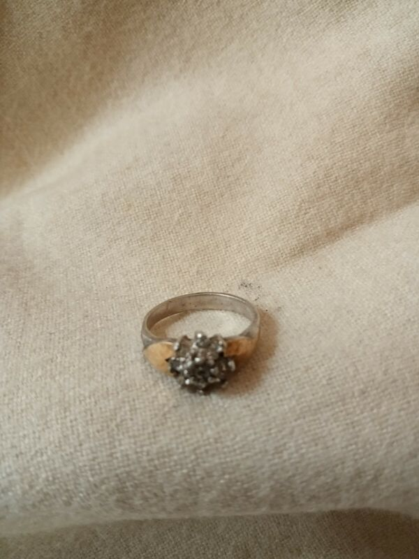 60s Preengagement Ring Diamond Floral Silver & Gold Size 6