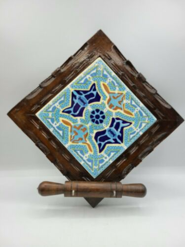 Ceramic Tile Wall Hanger Mexican Folk Art Wood Base Blue Gold