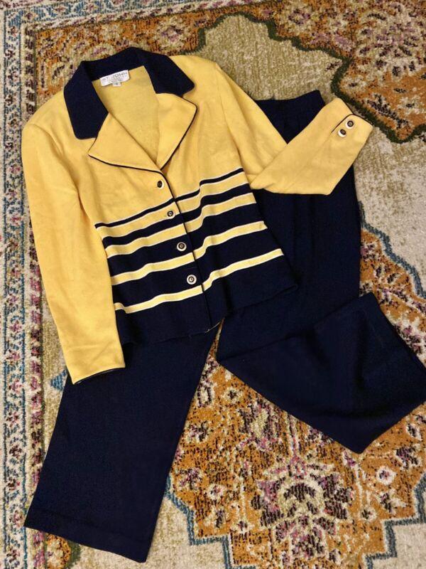 Vintage St. John Collection Marie Gray Knit Blazer & Pants Set Yellow/Blue sz 12