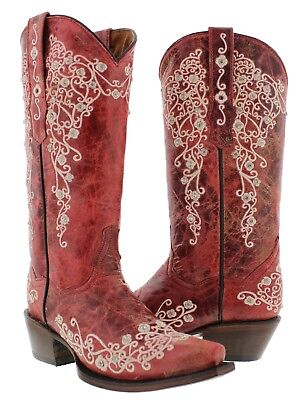 Womens Red Leather Western Cowboy Boots Rhinestones Rodeo Cowgirl (Boot Womens Western Boots)
