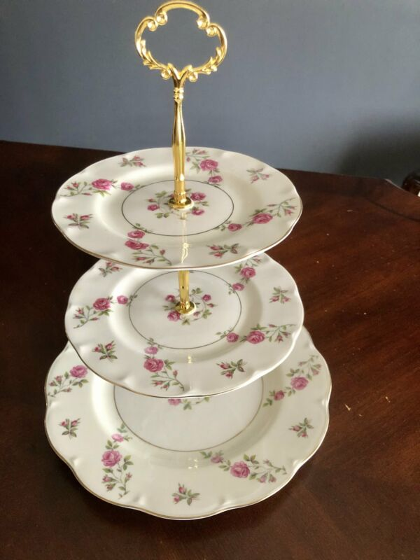 Vintage 3-tiered English cake stand, Pink roses