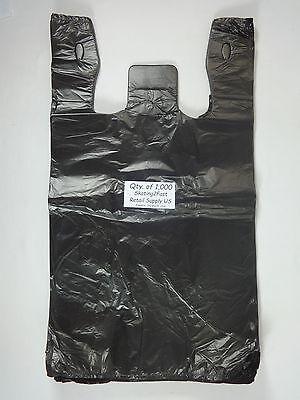 1000 Qty. Black Plastic T-shirt Retail Shopping Bags W Handles 11.5 X 6x 21