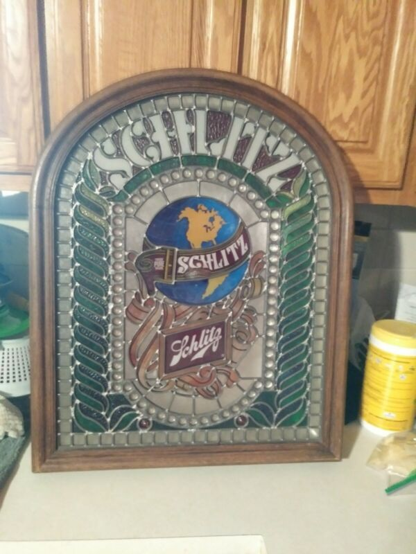 Vintage Large Schlitz Beer Stained Glass Style Bar Light Lamp Sign plastic