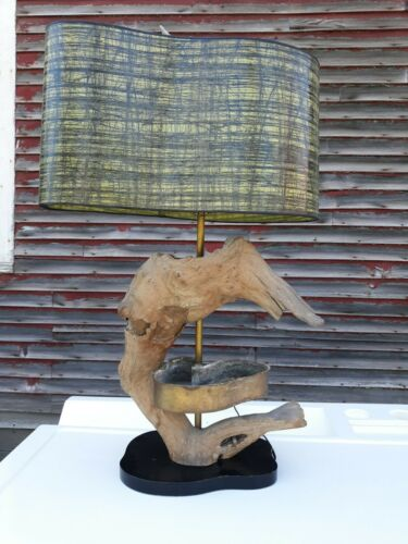 mid century,designer, driftwood lamp,with amazing fiberglass shade