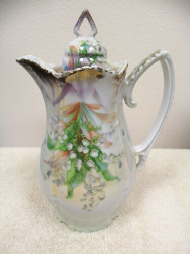 VINTAGE ANTIQUE SILESIEN GERMANY LILY OF THE VALLEY CHOCOLATE COFFEE TEAPOT