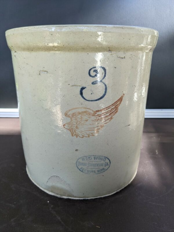 """Red Wing 3 Gallon Crock With 4 """" Wing"""
